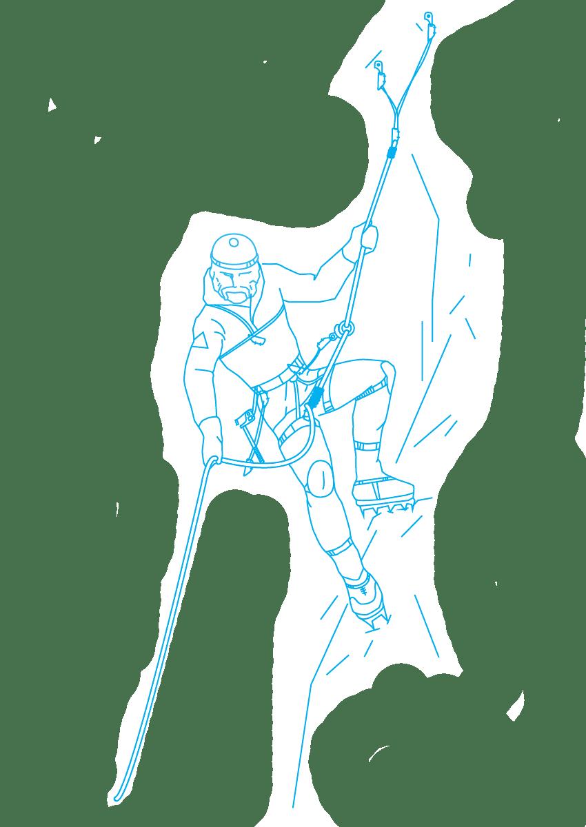 """Картинка с альпинистом для раздела """"Восхождения"""""""