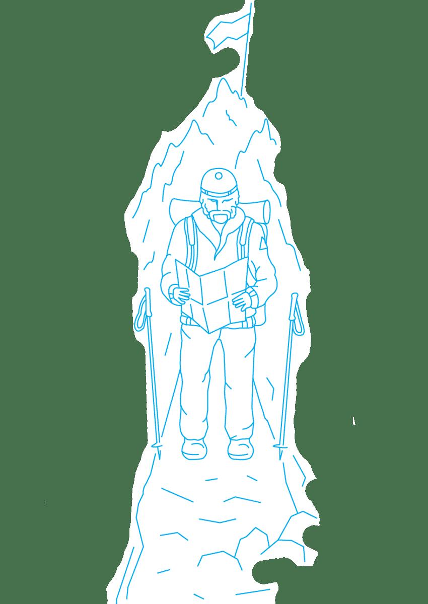 """Картинка с путешественником для раздела """"Треккинг"""""""